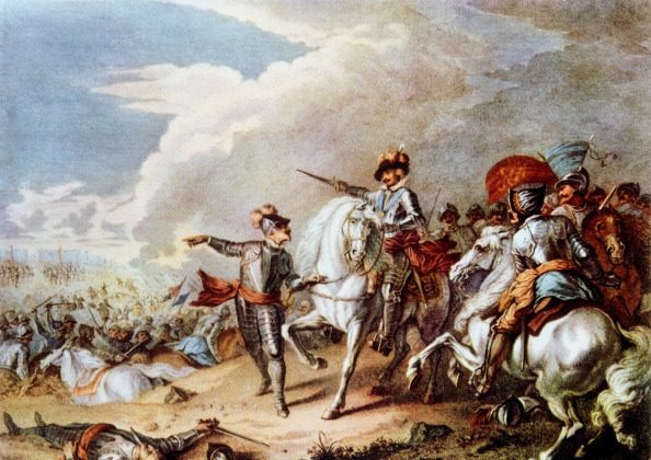 CIRCA 1754: English Civil Wars: Battle of Naseby 14 June 1645. Decisive victory over Royalists by Parliamentarians under Fairfax and Cromwell. (Universal History Archive/Getty Images)