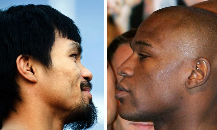 WBO welterweight champion Manny Pacquiao of the Philippines (L) in Dallas, Tex., on March 12, 2010 and Floyd Mayweather Jr. (R) in Las Vegas, Nevada, on May 4, 2007. (Chris Cozzone/AFP/Getty Images)