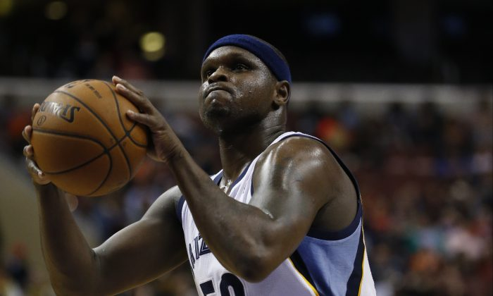Memphis Grizzlies' Zach Randolph in action during an NBA basketball game against the Philadelphia 76ers, Saturday, March 15, 2014, in Philadelphia. (AP Photo/Matt Slocum)