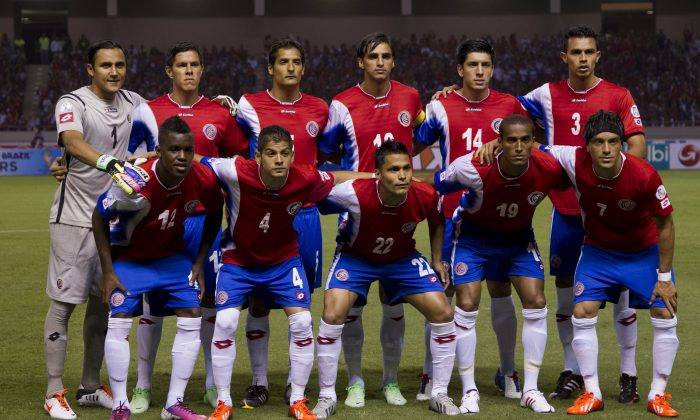 In this June 7, 2014 file photo, Costa Rica national soccer team poses prior to the start the 2014 World Cup qualifying soccer match between Costa Rica and Honduras in San Jose, Costa Rica. Background from left: Keilor Navas, Ariel Rodriguez, Celso Borges, Brian Ruiz, Christopher Meneses and Giancarlo Gonzalez. Foreground from left: Joel Campbell, Cristian Gamboa, Jairo Arrieta, Roy Miller and Cristian Bolanos. (AP Photo/Moises Castillo, File)