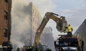Mayor Bill de Blasio Visits NYC East Harlem Buildings Collapse Site