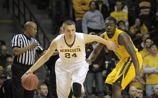 Minnesota's Joey Kingin an NCAA college basketball game against Southern Mississippi in the third round of the National Invitational Tournament in Minneapolis, Tuesday, March 25, 2014. (AP Photo/Tom Olmscheid)