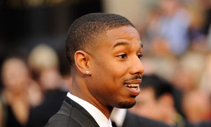 Michael B. Jordan arrives at the Oscars on Sunday, March 2, 2014, at the Dolby Theatre in Los Angeles.  (Chris Pizzello/Invision/AP)