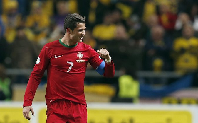 Portugal's Cristiano Ronaldo during the World Cup qualifying playoff second leg soccer match between Sweden and Portugal in Stockholm, Sweden, Tuesday, Nov.19, 2013. (AP Photo/Frank Augstein)