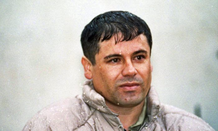 """Joaquin Guzman Lorea--the former Mexican Sinaloa cartel boss known as """"El Chapo"""" who is currently in prison--has not died.  In this June 10, 1993, file photo, Joaquin Guzman Loera """"El Chapo"""" Guzman, is shown to the media after his arrest at the high security prison of Almoloya de Juarez, on the outskirts of Mexico City. Guzman, the one they called """"shorty"""" because of his 5'6"""" frame, was a man who grew up poor and had no formal education, would rise from a small-time Mexican marijuana producer to lead the world's most powerful drug cartel. (AP Photo/Damian Dovarganes, File)"""