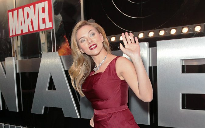American actress Scarlett Johansson arrives at the UK premiere for the movie Captain America: The Winter Soldier in London, Thursday March 20, 2014. (Photo by Jon Furniss Photography/Invision/AP Images)