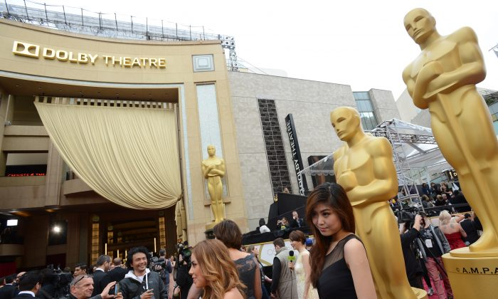 A general view as preparations are made for the Oscars. (Jordan Strauss/Invision/AP)