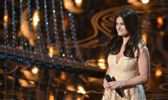 Idina Menzel performs on stage during the Oscars at the Dolby Theatre on Sunday, Mar. 2, 2014, in Los Angeles. (Photo by John Shearer/Invision/AP)