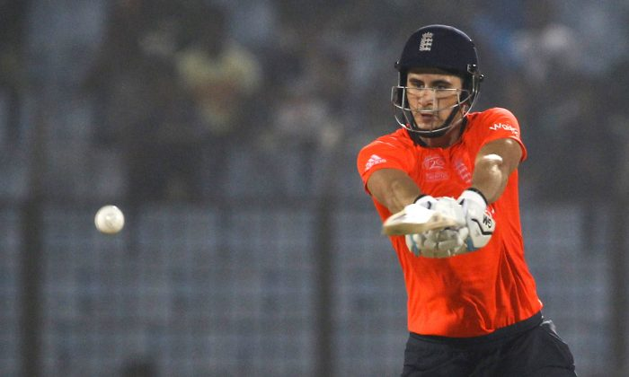 England's Alex Hales plays a shot during their ICC Twenty20 Cricket World Cup match against South Africa in Chittagong, Bangladesh, Saturday, March 29, 2014. (AP Photo/A.M. Ahad)