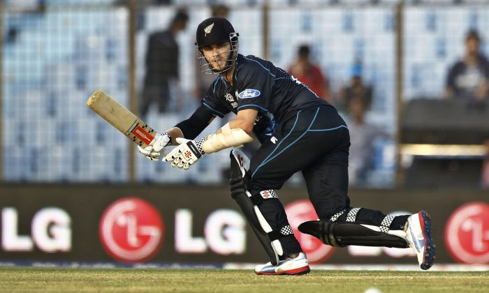 New Zealand's Kane Williamson plays a shot during their ICC Twenty20 Cricket World Cup match against South Africa in Chittagong, Bangladesh, Monday, March 24, 2014. (AP Photo/A.M. Ahad)