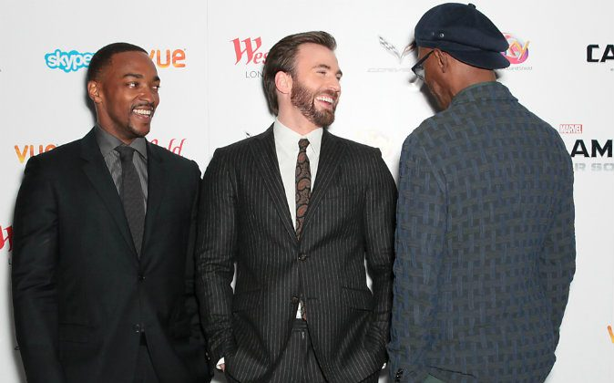 From left, actors Anthony Mackie, Chris Evans and Samuel L. Jackson pose for photographers during the UK premiere for the movie Captain America: The Winter Soldier in London, Thursday March 20, 2014. (Photo by Jon Furniss Photography/Invision/AP Images)