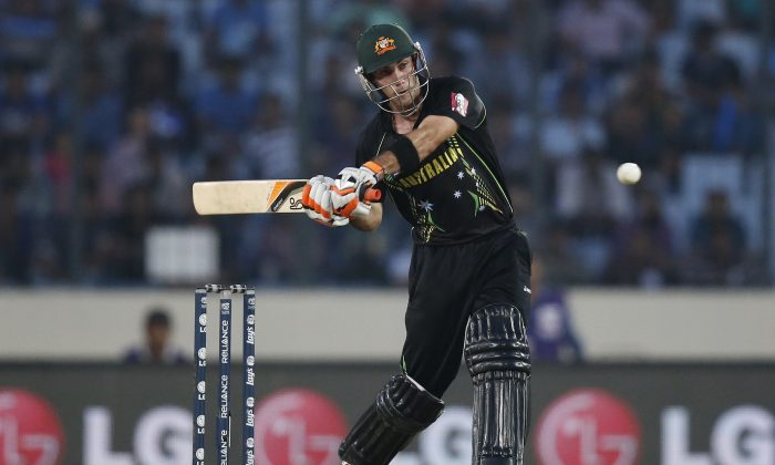 Australia's batsman Glenn Maxwell prepares to play a shot during their ICC Twenty20 Cricket World Cup match against Pakistan in Dhaka, Bangladesh, Sunday, March 23, 2014. (AP Photo/Aijaz Rahi)