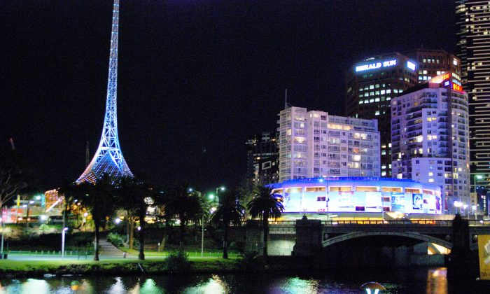 Melbourne's iconic Arts Centre which has a 168 metre spire that looks like the Eiffel Tower. (Win Naing/Epoch Times)