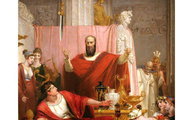 Sword of Damocles, 1812, oil painting on canvas. Dimensions: 130.0 × 103.0 cm (painting). (Wikimedia Commons)