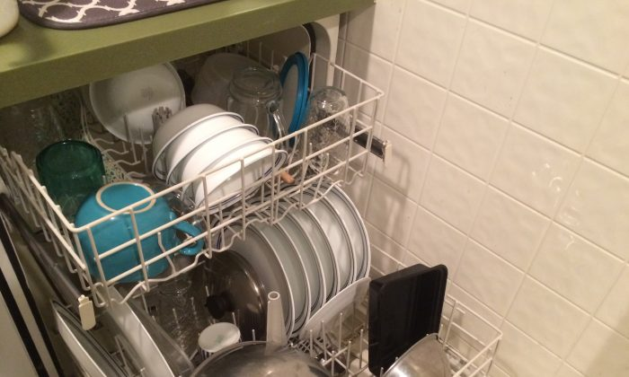 Clean dishes, just washed with homemade dishwasher detergent.  March 28, 2014.