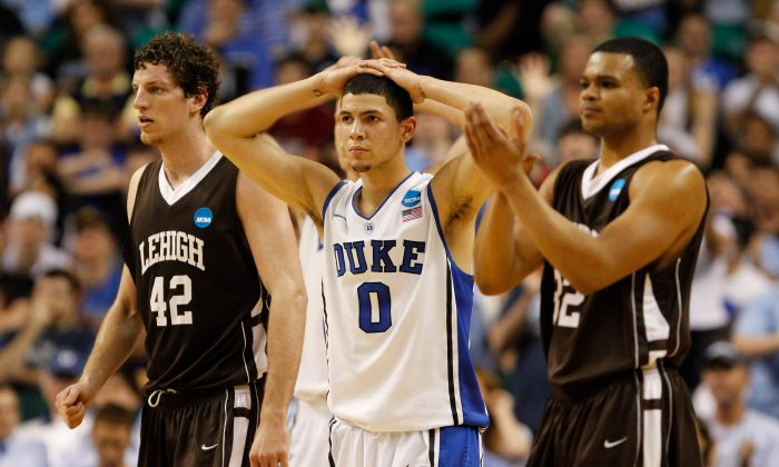 Austin Rivers (C) of Duke scored 19 points in the team's 2012 opening round loss to Lehigh. (Streeter Lecka/Getty Images)