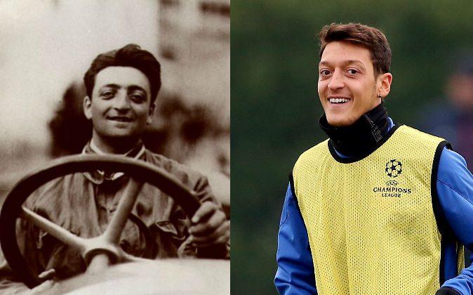 Left: Enzo Ferrari, founder of Ferrari, died in 1988. (Wikimedia Commons) Right: Soccer player Mesut Özil on Dec. 10, 2013; he was born in 1988. (Scott Heavey/Getty Images)