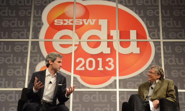Bill Gates, co-chair of the Bill and Melinda Gates Foundation, and Iwan Streichenberger, CEO of nonprofit inBloom Inc., at South by Southwest Interactive Festival SXSWedu, in Austin, Texas, March 7, 2014. (Amy E. Price, SXSWedu/PRNewsFoto/inBloom Inc./AP)