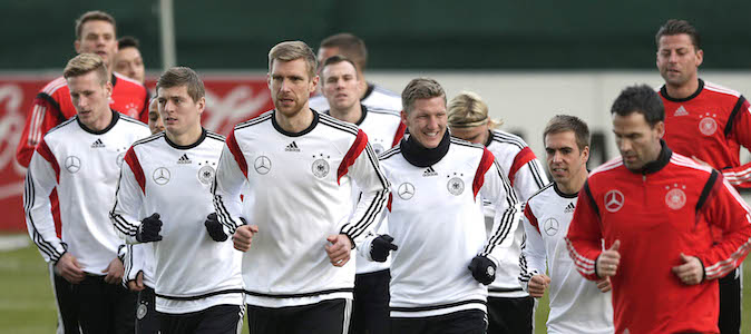 Germany's player practice during a training session prior to the international friendly soccer match between Germany and Chile in Stuttgart, southern Germany, Monday, Mar. 3, 2014. Germany will face Chile Wednesday. (AP Photo/Matthias Schrader)