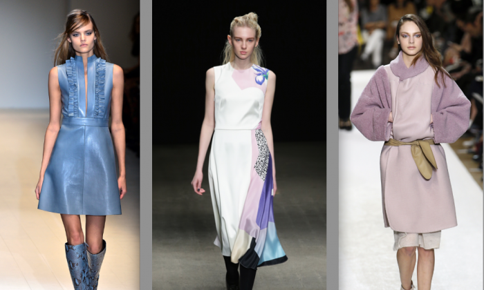 Pretty in Pastels (L-R) Gucci, Milan Fashion Week Autumn/Winter 2014 (Giuseppe Cacace/AFP/Getty Images); Phillip Lim, Mercedes-Benz Fashion Week Fall 2014 (Neilson Barnard/Getty Images for Mercedes-Benz Fashion Week); Chloe, 2014/2015 Autumn/Winter ready-to-wear collection (Patrick Kovarik/AFP/Getty Images)