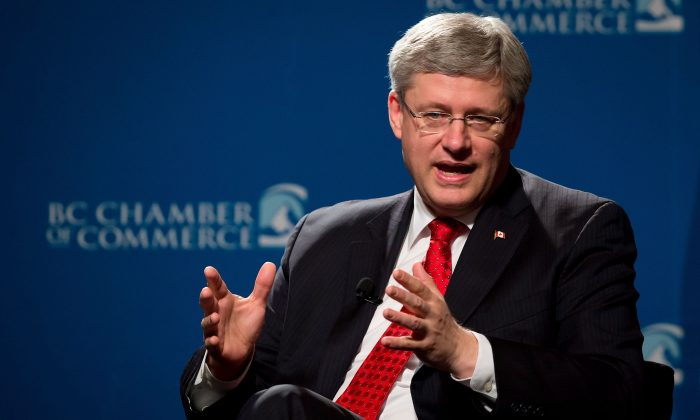 Prime Minister Stephen Harper said in a Q&A session on March 12, 2014 before the BC Chamber of Commerce that a new deal offers unprecedented access to the South Korean market. (The Canadian Press/Darryl Dyck)