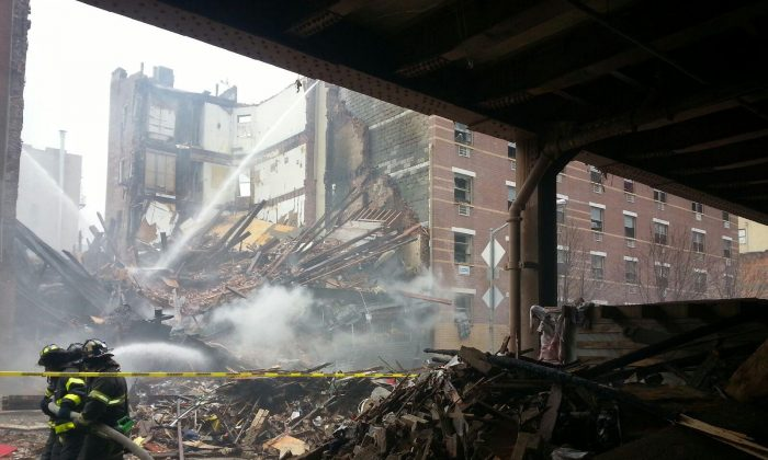 East Harlem building explosion at 116th Street and Park Avenue in Manhattan, New York on March 12, 2014. (Courtesy of Eddie Gibbs)