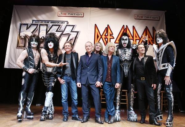 Kiss and Def Leppard at press conference Monday. Photo Credit: Michael Tran/Film Magic