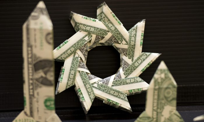 Origami made from dollar bills on display at the Origami Convention at the Fashion Institute of Technology in New York on June 22, 2013. (Don Emmert/AFP/Getty Images)