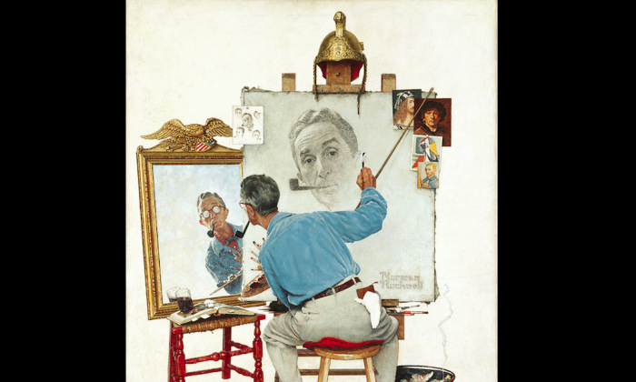 """Triple Self-Portrait,"" cover illustration for The Saturday Evening Post, Feb. 13, 1960. (Norman Rockwell Museum Collection)"