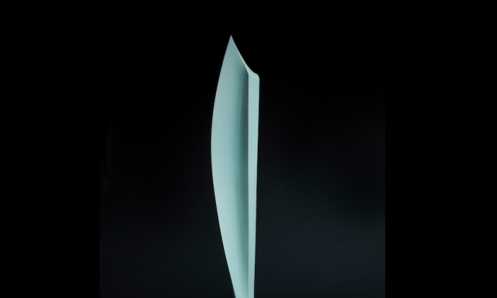 """Kitsu (Soar),"" 2013, by Sueharu Fukami (b.1947). Porcelain with celadon glaze, granite base. (Courtesy of GalleryFW)"