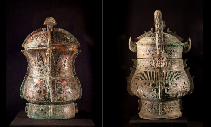 Archaic Chinese bronzes in the galleries of J. J. Lally, New York, March 12, 2014. (Samira Bouaou/Epoch Times)