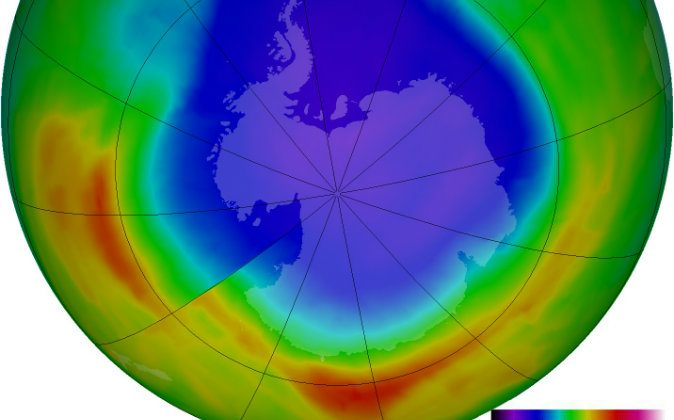 A depiction of the large hole in the ozone layer over the Antarctic as of September 2012. (NASA)