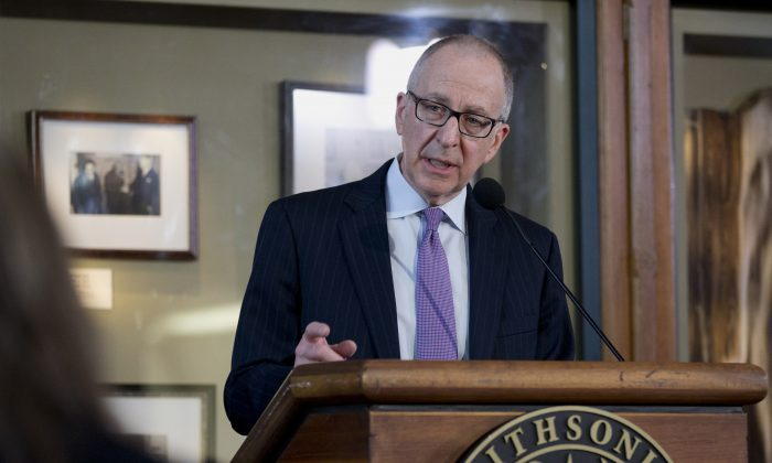 Cornell University President Dr. David Skorton speaks during a news conference at the Smithsonian Castle in Washington, D.C., March 10, 2014. (Carolyn Kaster/AP)