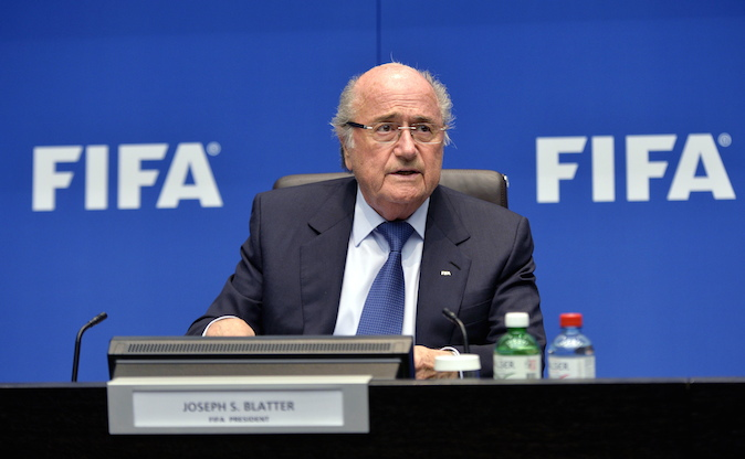 "FIFA President Joseph ""Sepp"" Blatter speaks during a press conference at the conclusion of the meeting of the FIFA Executive Committee at the Home of FIFA in Zurich, Switzerland, Friday, March 21, 2014. Among other topics, the FIFA Executive Committee covered sports political matters including an update on the workers' welfare in Qatar. (AP Photo/Keystone,Walter Bieri)"