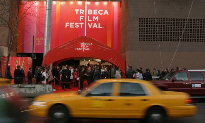A taxi passes Tribeca Film Festival Opening Ceremony Red Carpet event in 2005. (Courtesy of Tribeca Film Festival)