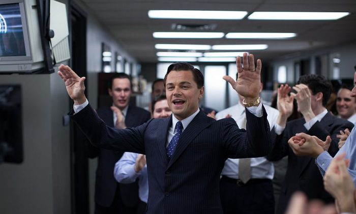 "Leonardo DiCaprio as Jordan Belfort in ""The Wolf of Wall Street"" from Paramount Pictures and Red Granite Pictures. The film is nominated for five Oscars, including best picture, but came very close to never getting made. (AP Photo/Paramount Pictures, Mary Cybulski)"