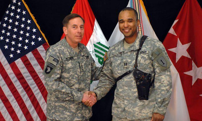 Gen. David Petraeus congratulates Capt. James Van Thach for completing the task of establishing Combat Outpost Shocker, Baghdad, Nov. 2007. (Courtesy Capt. James Van Thach)
