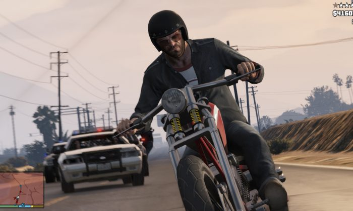 "This file photo released by Rockstar Games shows a screen shot from the video game, ""Grand Theft Auto V."" The big-budget, post-apocalyptic drama ""The Last of Us"" and the independent voyeuristic coming-of-age story ""Gone Home"" both lead the Game Developers Choice Awards in San Francisco, honoring the best video games of the past year with five nominations each, including video game of the year. Other titles up for the top prize at the Wednesday, March 19, 2014 ceremony include ""Grand Theft Auto V,"" ""Tomb Raider"" and ""Super Mario 3D World.""  (AP Photo/Rockstar Games, file)"