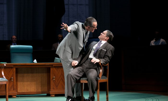 "(L–R) Bryan Cranston as LBJ and Robert Petkoff as Hubert Humphrey in ""All the Way."" (Evgenia Eliseeva)"