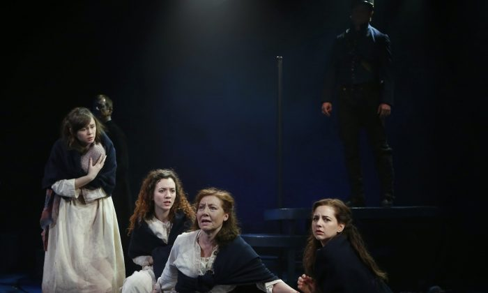 (L–R) Emily Skeggs, Pearl Rhein, Terry Donnelly, and Jessica Grové play ladies bound for the penal colony in Australia. (Carol Rosegg)