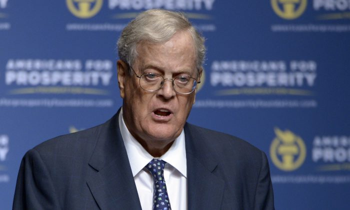 Americans for Prosperity Foundation Chairman David Koch  speaks in Orlando, Fla. (AP Photo/Phelan M. Ebenhack, File)