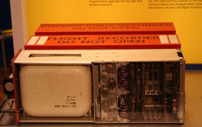 A typical black box or flight recorder. (The Conversation)
