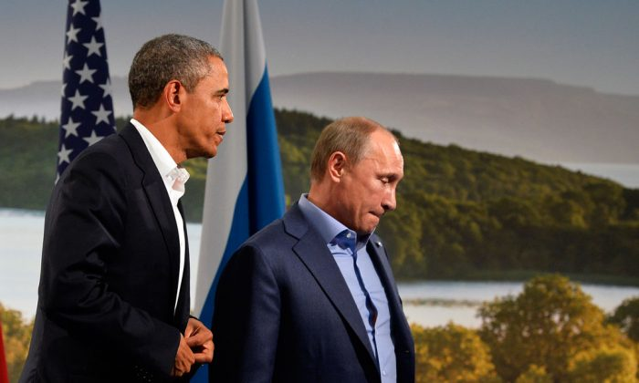 President Barack Obama (L) holds a bilateral meeting with Russian President Vladimir Putin during the G8 summit at the Lough Erne resort near Enniskillen in Northern Ireland, on June 17, 2013. (Jewel Samad/AFP/Getty Images)