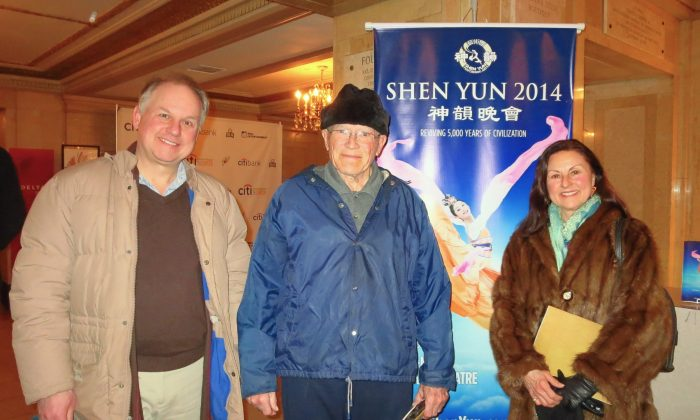 (L-R) Phil Lauriat, David Brooks, and Lilian LeBel enjoy Shen Yun Performing Arts at Citi Wang Theatre in Boston, Mass., on March 1, 2014. (Hua Chang/Epoch Times)