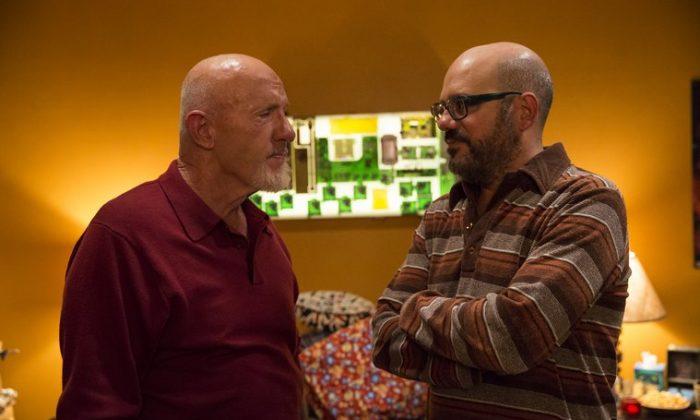 Jonathan Banks as Professir Buzz Hickey, David Cross as Hank Hickey in Community. (NBC)
