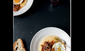Recipe for Braised Oxtail with Creamy Polenta, Fried Eggs, and Garlic Toast