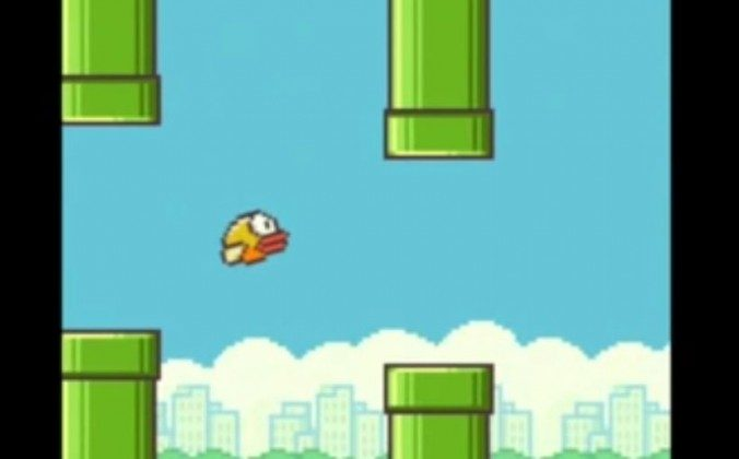 "A screenshot of the mobile game ""Flappy Bird."""