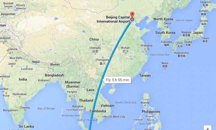 The original route map for Malaysia Airlines flight MH370. The plane turned around shortly after leaving Kuala Lumpur International Airport and went further west past the airport, according to Malaysian officials. (Google Maps)