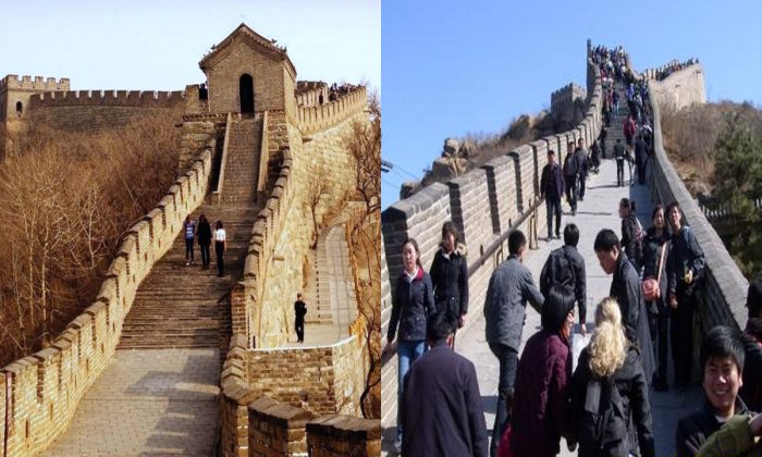 Michelle Obama and her daughters (L) visit the Great Wall in Beijing on March 23, after the crowds of tourists were cleared away. On the right is how the Great Wall normally looks in tourist season. (Chen Linsen & Sina.com)