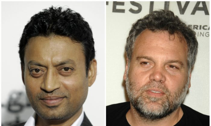 "Irrfan Khan, left, and Vincent D' Onofrio have been cast as villains in ""Jurassic World."" (AP Photo/Stuart Ramson; AP Photo/Peter Kramer)"